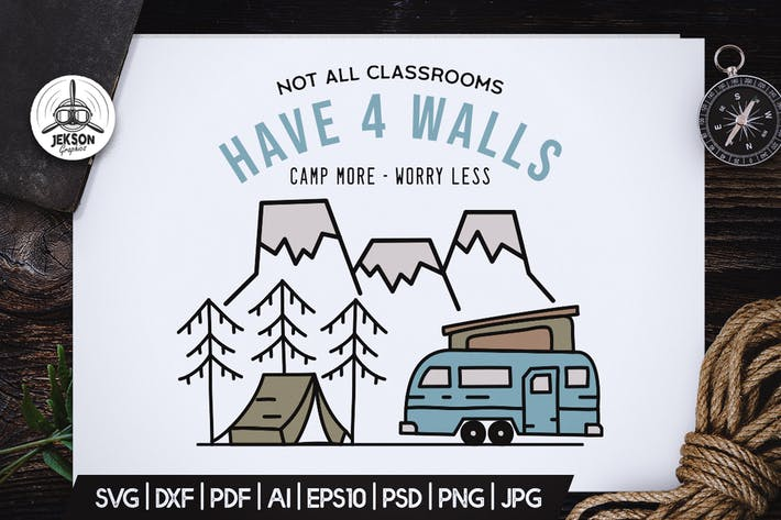 Thumbnail for Camping Scene Badge Vector Vintage Graphic Logo