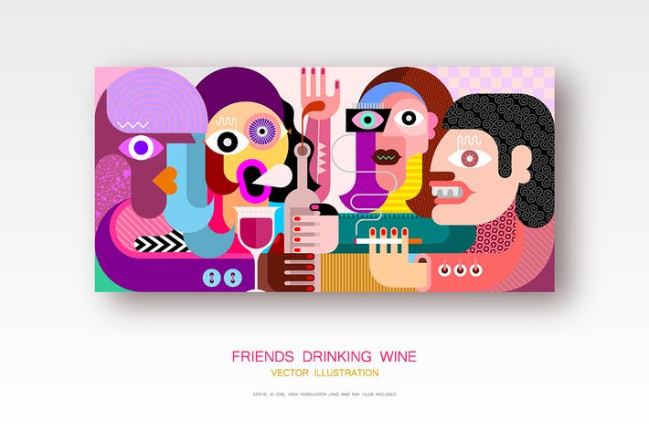 Thumbnail for Four Friends Drinking Wine vector illustration