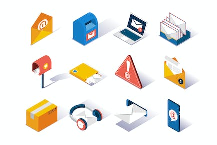 Email Service Provider Isometric Icons Set