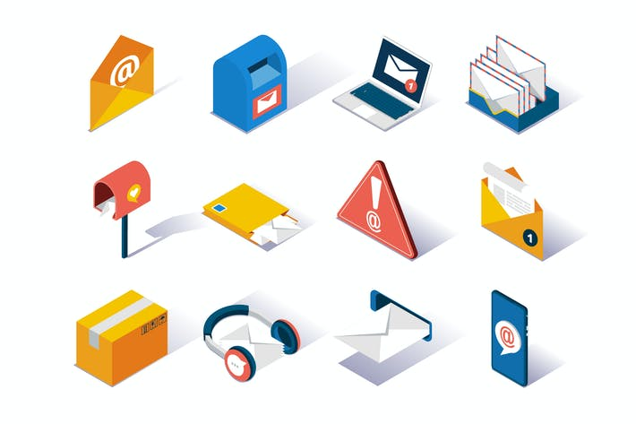 Thumbnail for Email Service Provider Isometric Icons Set