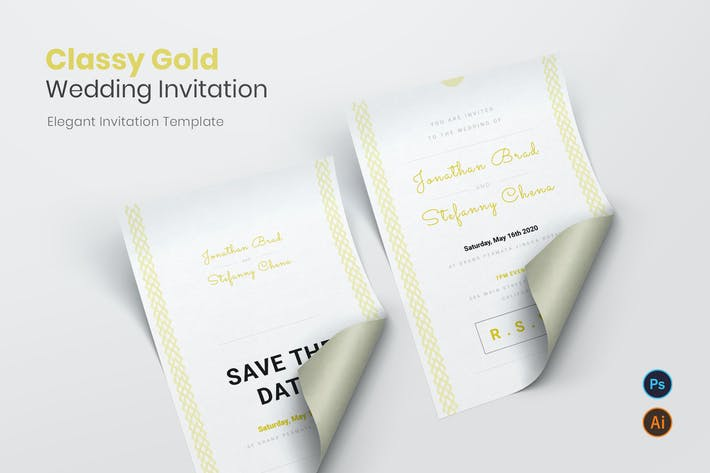 Thumbnail for Classy Gold Wedding Invitation