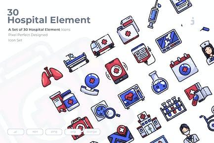 30 Hospital Element Icons