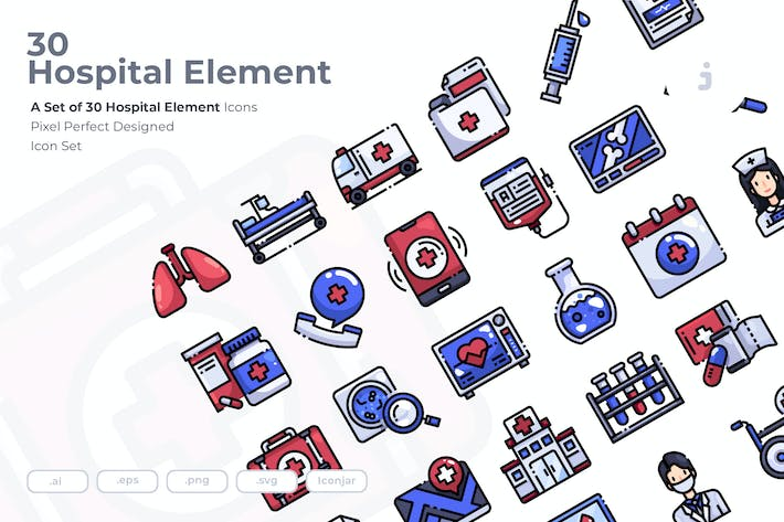 Thumbnail for 30 Hospital Element Icons