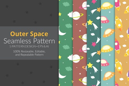 Outer Space Seamless Pattern Pack