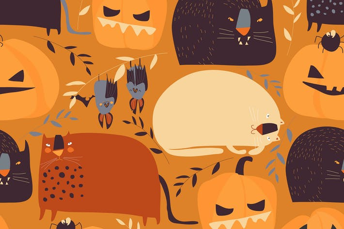 Thumbnail for Vector seamless pattern with pumpkins and cats o