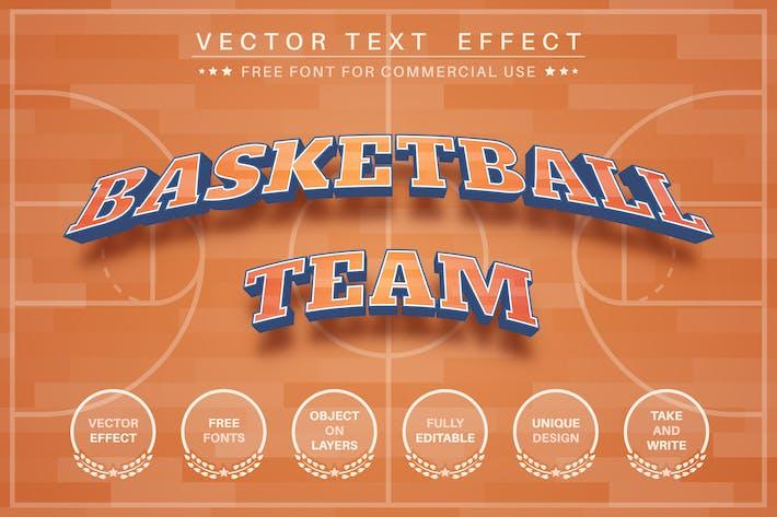 Баскетбол - редактируемый текстовый эффект, стиль шрифта