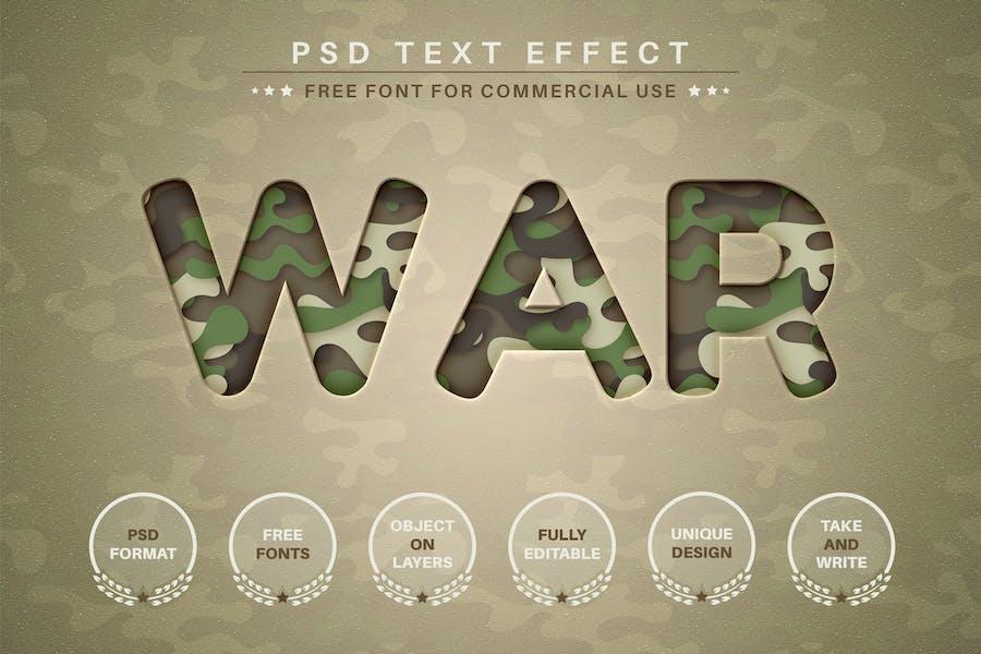 War - PSD Editable Text Effect, Font Style