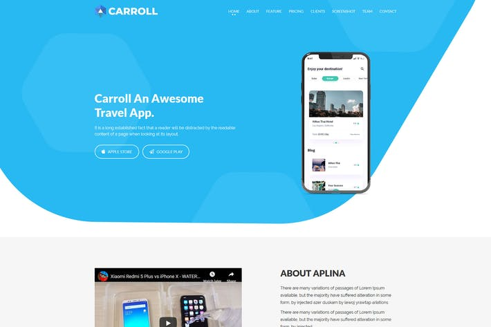 Thumbnail for Carroll - App Landing Page HTML Template