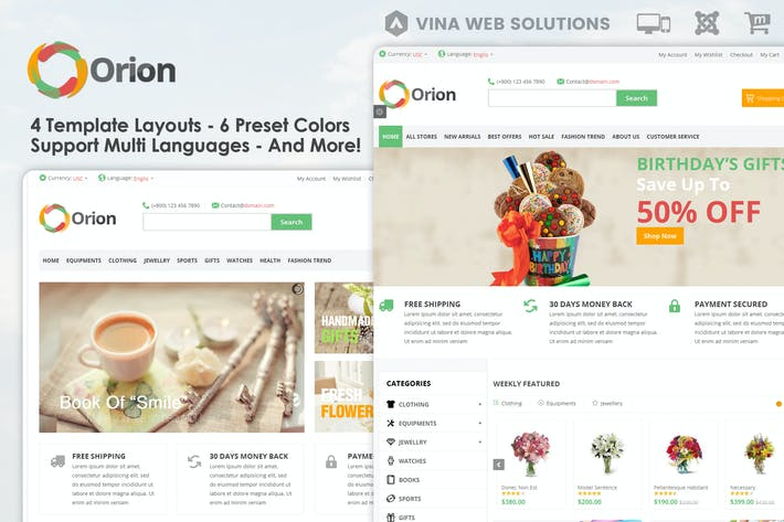 Thumbnail for Orion :: Businesses & e-Commerce Joomla Template