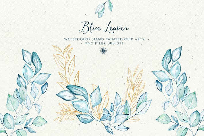 Thumbnail for Blue Leaves with gold accent