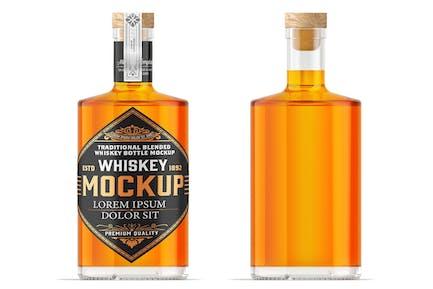 Whiskey Glass Bottle Mockup