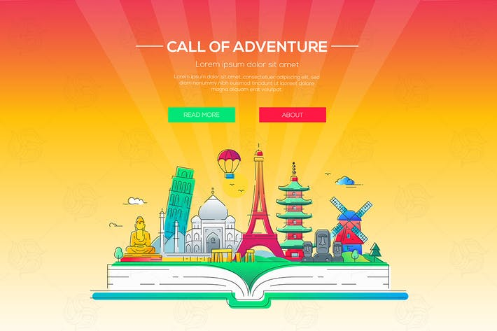 Thumbnail for Call of adventure - vector line illustration