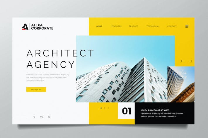Thumbnail for Architect Agency Web Header PSD and AI Template