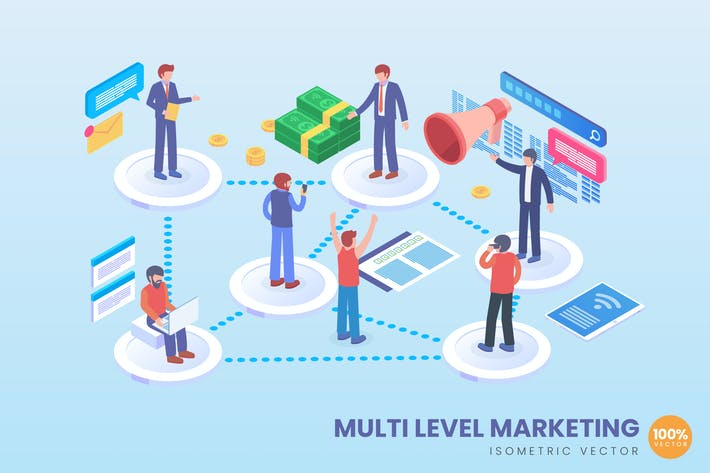 Thumbnail for Isometric Multilevel Marketing Vector Concept