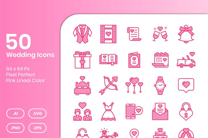 50 Wedding Icons Set - Pink Lineal Color