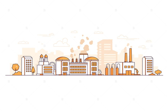 Thumbnail for Factory - line design style vector illustration