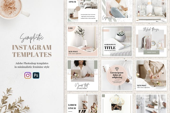 Thumbnail for 20 Feminine Instagram Templates