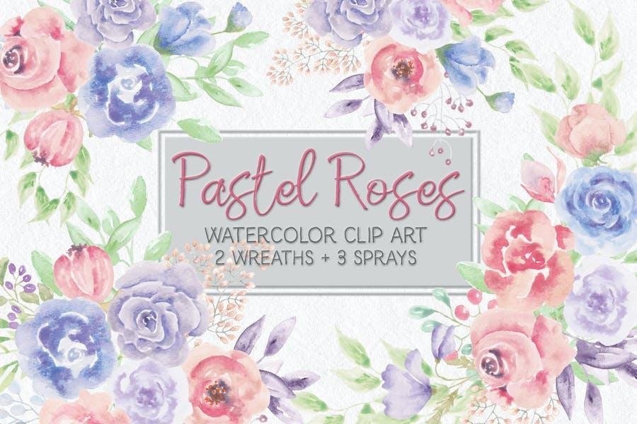 Pastel Roses Watercolor Mini Bundle