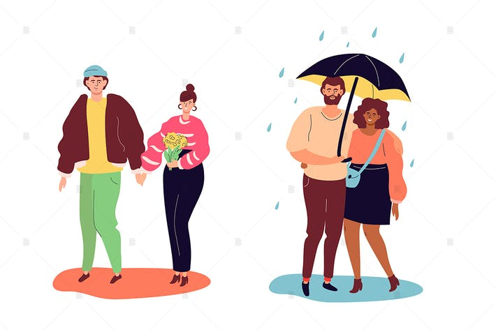 Thumbnail for Couples on a date - flat design style characters