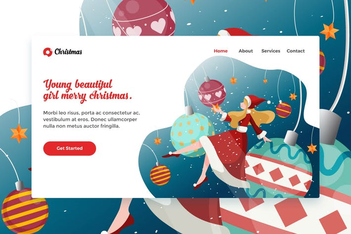 Thumbnail for Merry Christmas Beautiful Girl web Landing Page