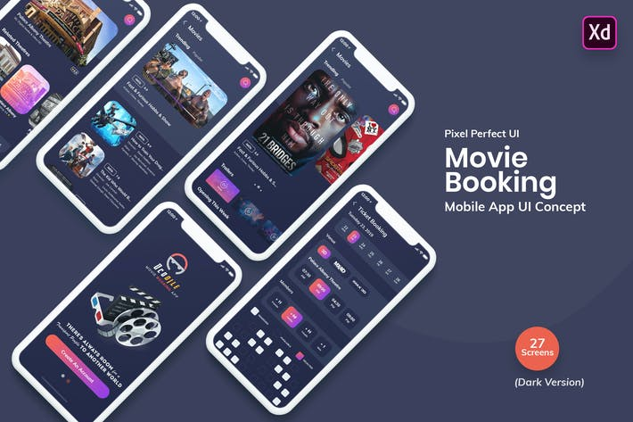 Cover Image For Ocodile-Movie Booking Mobile App UI Kit Dark (XD)