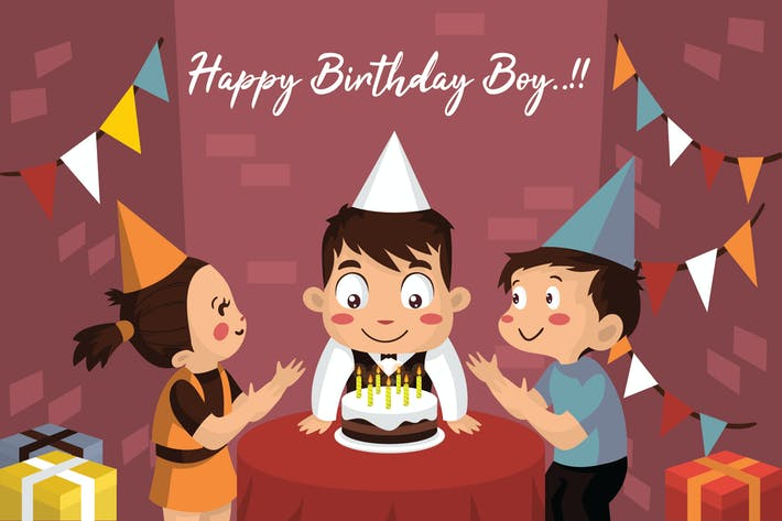 Thumbnail for Boy Happy Birthday - Vector Illustration