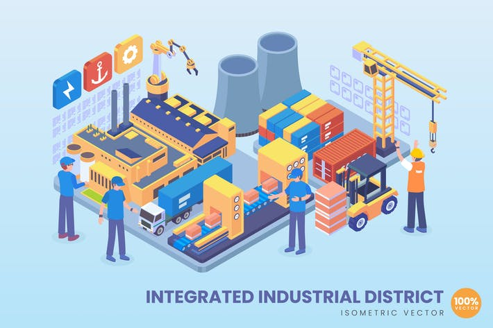 Thumbnail for Isometric Integrated Industrial District Concept