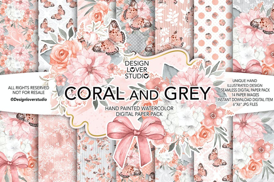 Watercolor CORAL and GREY digital paper pack