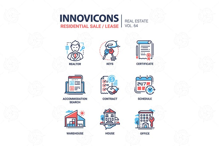 Thumbnail for Residential sale and lease - line design icons set