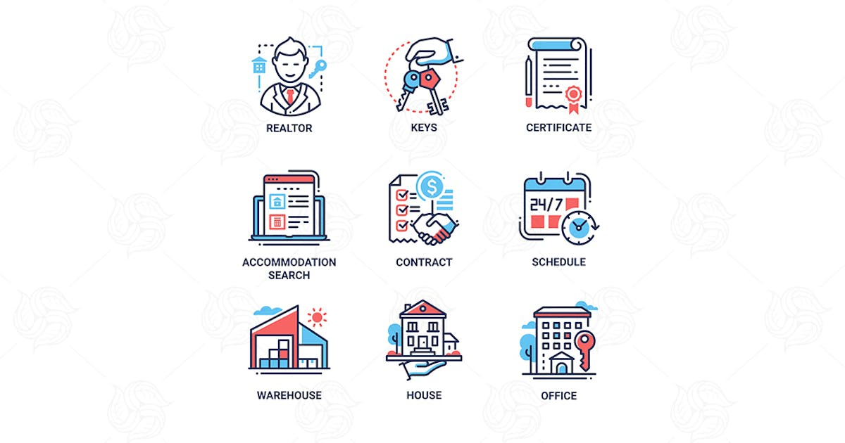 Download Residential sale and lease - line design icons set by BoykoPictures