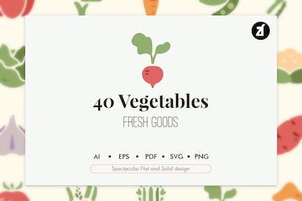 40 elementos vegetales en diseño plano y sólido