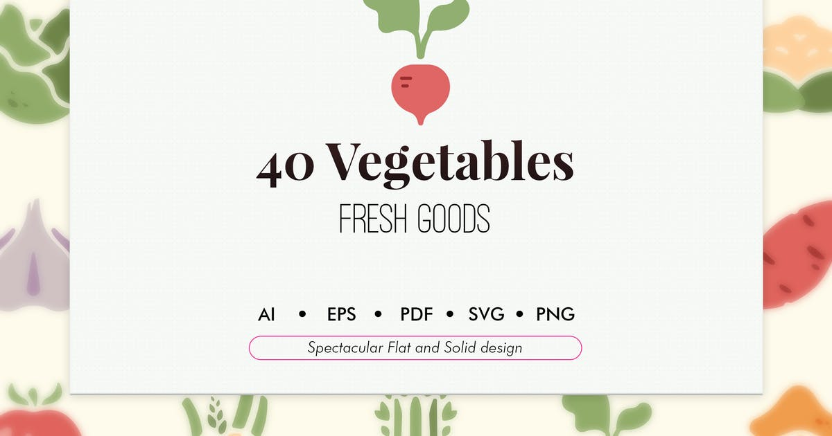 Download 40 Vegetable elements in flat and solid design by Chanut_industries