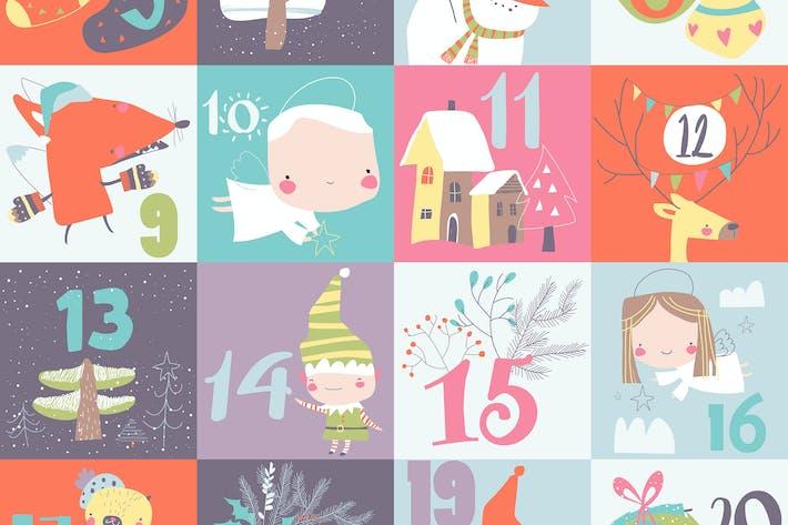 Thumbnail for Рождественский календарь с рождественскими украшениями и голец