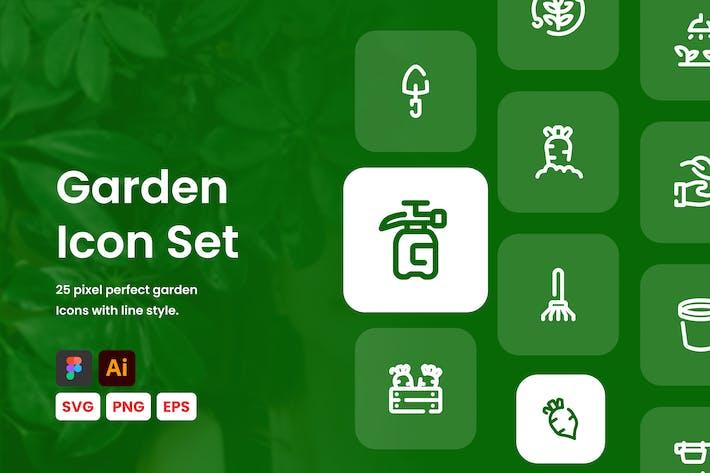 Conjunto de iconos de línea de jardín