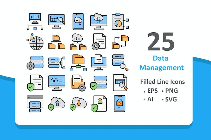 Thumbnail for 25 Data Management Icons - Filled Line