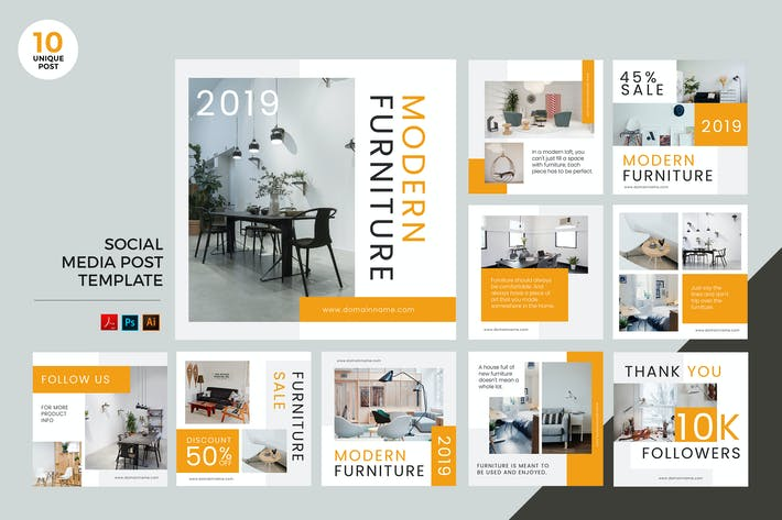 Thumbnail for Modern Furniture Social Media Kit PSD & AI