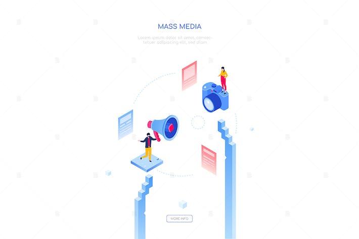 Mass media - modern isometric web banner
