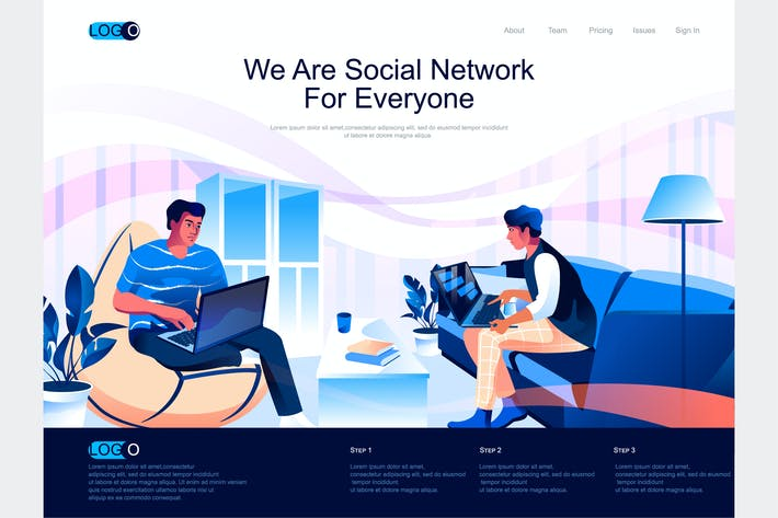 Thumbnail for Social Network Isometric Landing Page Template