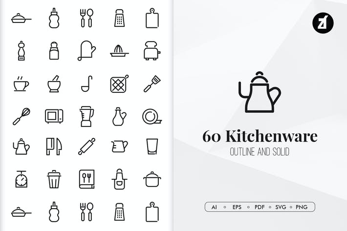Thumbnail for 60 Kitchenware elements in minimal design