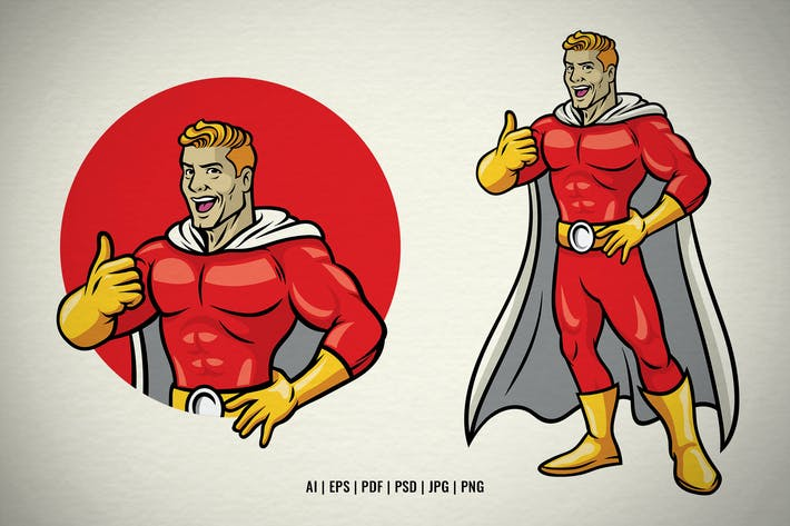 Superhelden-Charakter-Maskottchen-Daumen hoch