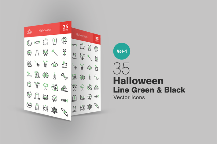Cover Image For 35 Halloween Line Green & Black Icons