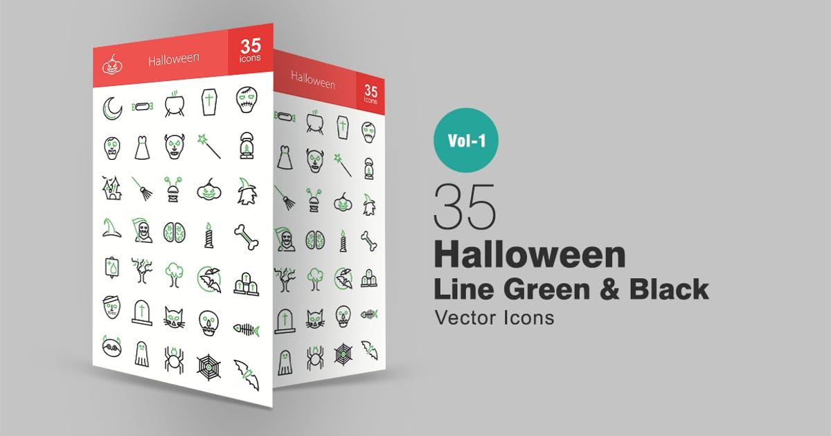 Download 35 Halloween Line Green & Black Icons by Unknow