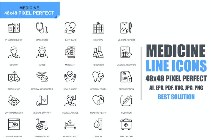 Thumbnail for Simple Set Healthcare and Medical Line Icons