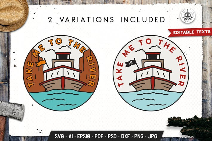 Thumbnail for River Trip Badge, Vector Adventure Retro Graphic