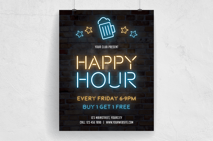 Thumbnail for Happy Hour Neon Flyer