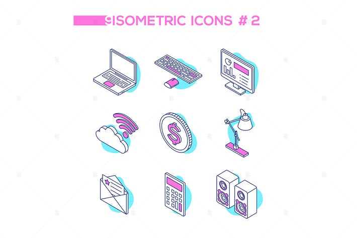Thumbnail for Technology and office work - isometric icons