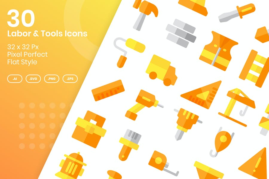 30 Labor & Tools Icons - Flat