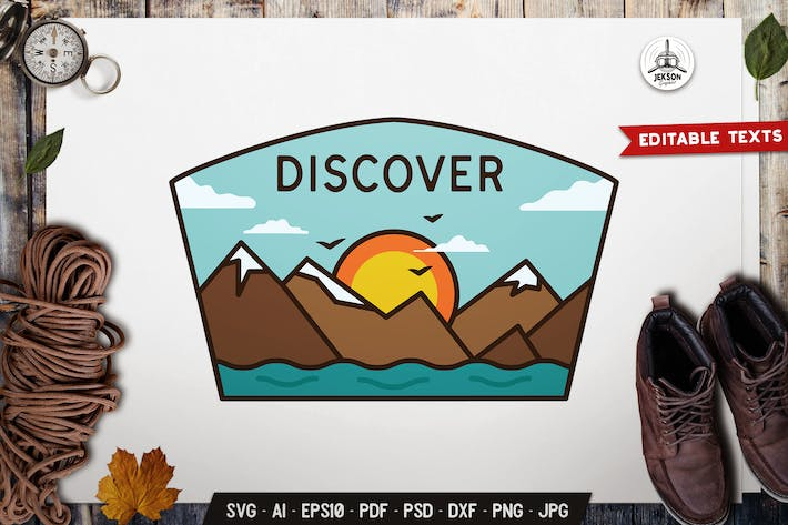Thumbnail for Discover Emblem Modern Badge SVG. Retro Design