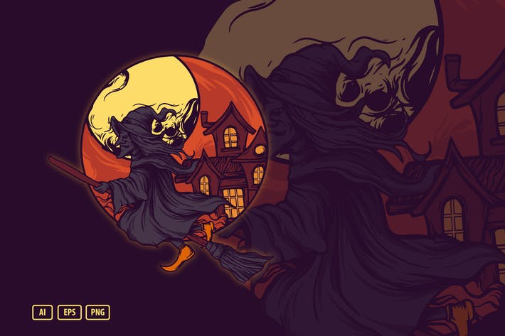Thumbnail for Illustration d'Halloween sorcière