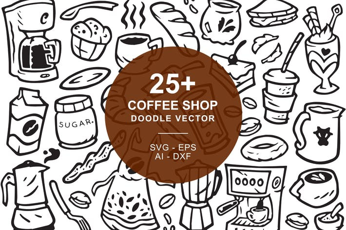 Thumbnail for Coffee Shop Doodle Art Illustration